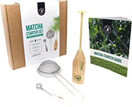 Jade Leaf - Modern Matcha Starter Set - Electric Aerolatte Frother Matcha Whisk, Stainless Steel Scoop, Stainless Steel Sifter, Preparation Guide