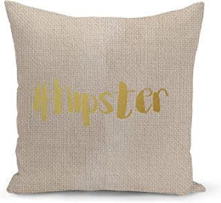 Hipster Hashtag Beige Linen Pillow with Metalic Gold Foil Print Funny Instagram Couch Pillows