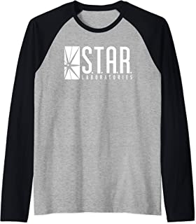 DC Comics Flash Star Labs Logo White Manche Raglan