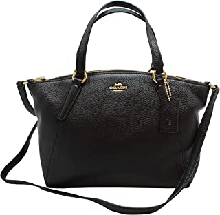 Coach Pebble Leather Mini Kelsey Satchel Crossbody Handbag F28994 Black/Imitation Gold
