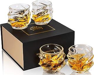 KANARS Emperor Whiskey-Gläser – übergroße Gläser im Rock-Stil für Scotch, Bourbon und Cocktail – bleifreies Kristall – 313 ml – 4 Stück – Einzigartige elegante Geschenkbox