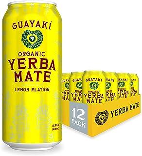 Guayaki Yerba Mate, Lemon Elation, Organic Alternative to Energy, Coffee and Tea Drinks, 15.5 Ounce Cans, (Pack of 12), 15...