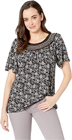 Mix Short Sleeve Top with Embroidery