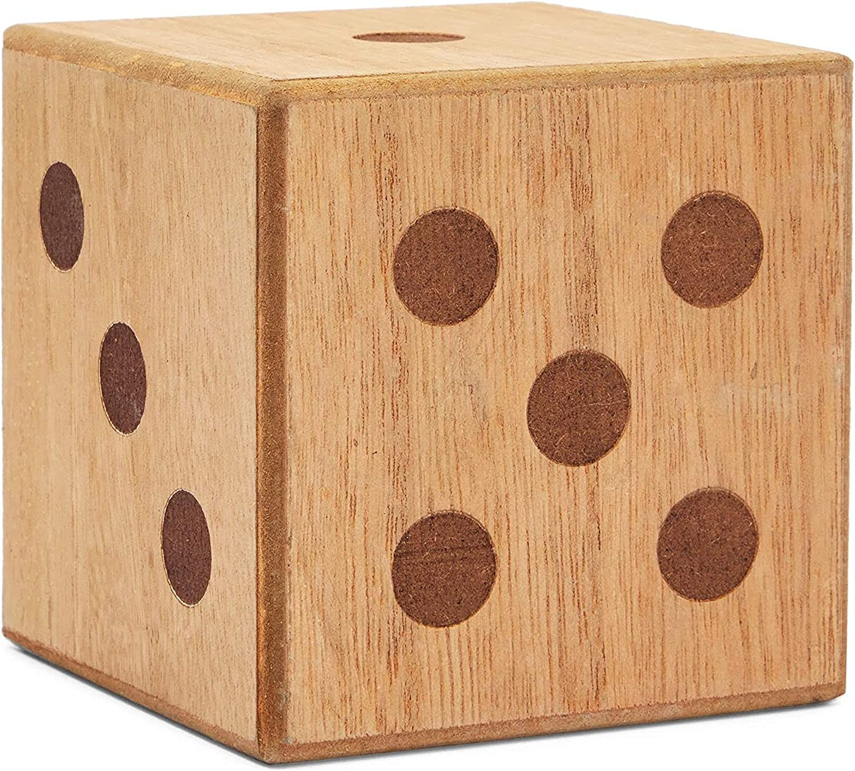 Wooden Dice, Industrial Farmhouse Shelf Décor (4x4 Inches)