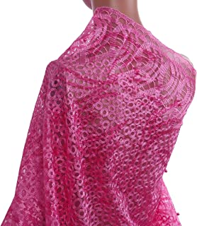 TOKAY TKL5032 Series Sequins Polyester Lace Fabric For Women Fashion Dress Party Aso-Ebi 5 Colors Pink a Pack Of 5 Yards ¡