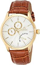 August Steiner Casual Watch Analog Display Japanese Quartz Movement For Men As8209Ygbr, Brown Band