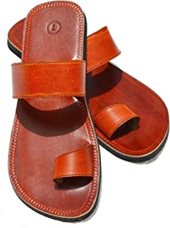 Handcrafted Luxury Men Biblical Leather Sandals Jesus Sandals Brown Finger Style Hippie Indian Sandals