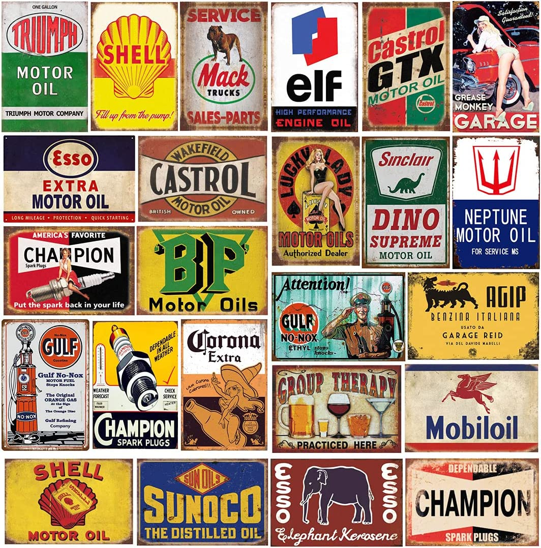 24 pcs Reproduced Vintage Tin Free shipping anywhere in the free shipping nation Signs Oil for Sign Metal Beer Gas