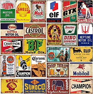 General Store Advertising 12Pcs Old Rusty Metal Tin Advertising Signs Antique Metal Sign Collage Sticker Sheet 716A Model Train Signs