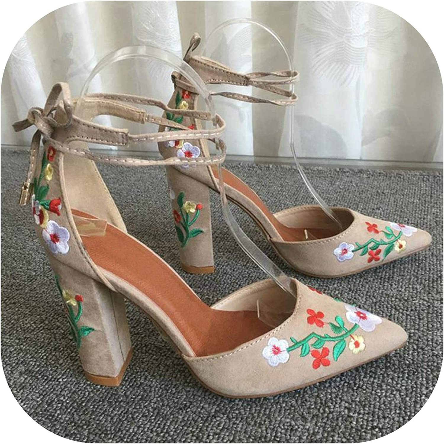 Women High Heels Embroidery Pumps Flower Ankle Strap shoes Two Piece Wedding Pointed Toe