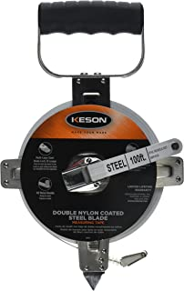 Keson SNR18100 Nylon-Reinforced Steel Blade Tape Measure, Stainless Steel Housing with Hook End (Graduations: ft, in, 1/8), 100-Foot