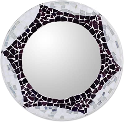 NOVICA Handcrafted Glass Mosaic Wall Mounted Mirror, White, Frozen Star'