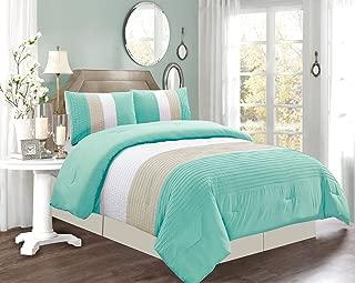 4 Piece QUEEN Size TURQUOISE BLUE / WHITE / GREY Pin Tuck Stripe Regatta Goose Down Alternative Comforter set 90