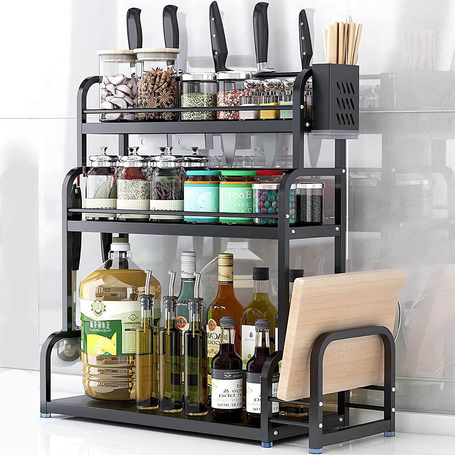 spice rack Very popular! Bargain sale organizer for countertop,Spice large 3-layer