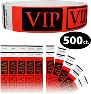 """Tyvek Wristbands - Goldistock VIP Deluxe Bright Red 500 Count - ¾"""" Arm Bands - Paper-Like Party Armbands - Heavier Tyvek Wrist Bands = Upgrading Your Event"""