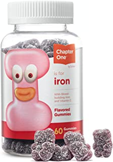 Chapter One Iron Gummies, Great Tasting Iron Gummy Vitamins with Vitamin C, Certified Kosher, 60 Flavored Gummies
