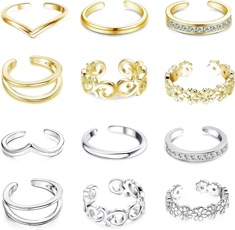 FUNRUN JEWELRY 12PCS Adjustable Toe Ring for Women Girls Daisy Flower CZ Tail Ring Band Hawaiian Jewelry