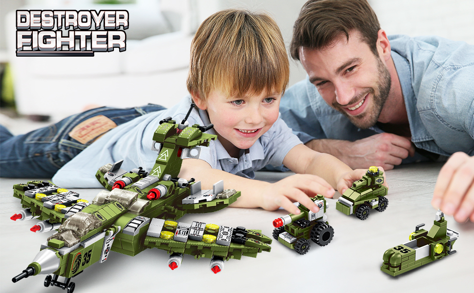 VATOS STEM Building Toys, 576 PCS Warcraft STEM Toys for 6 Year Old Boys 25-in-1 Engineering Building Bricks Destroyer Fighter Vehicles Blocks Kits Best Gifts for Kids Aged 5 6 7 8 9 10 11 12 Yr Old