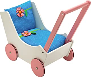 HABA Walk Along Dolly Wooden Doll Pram with Bedding & Adjustable Handle