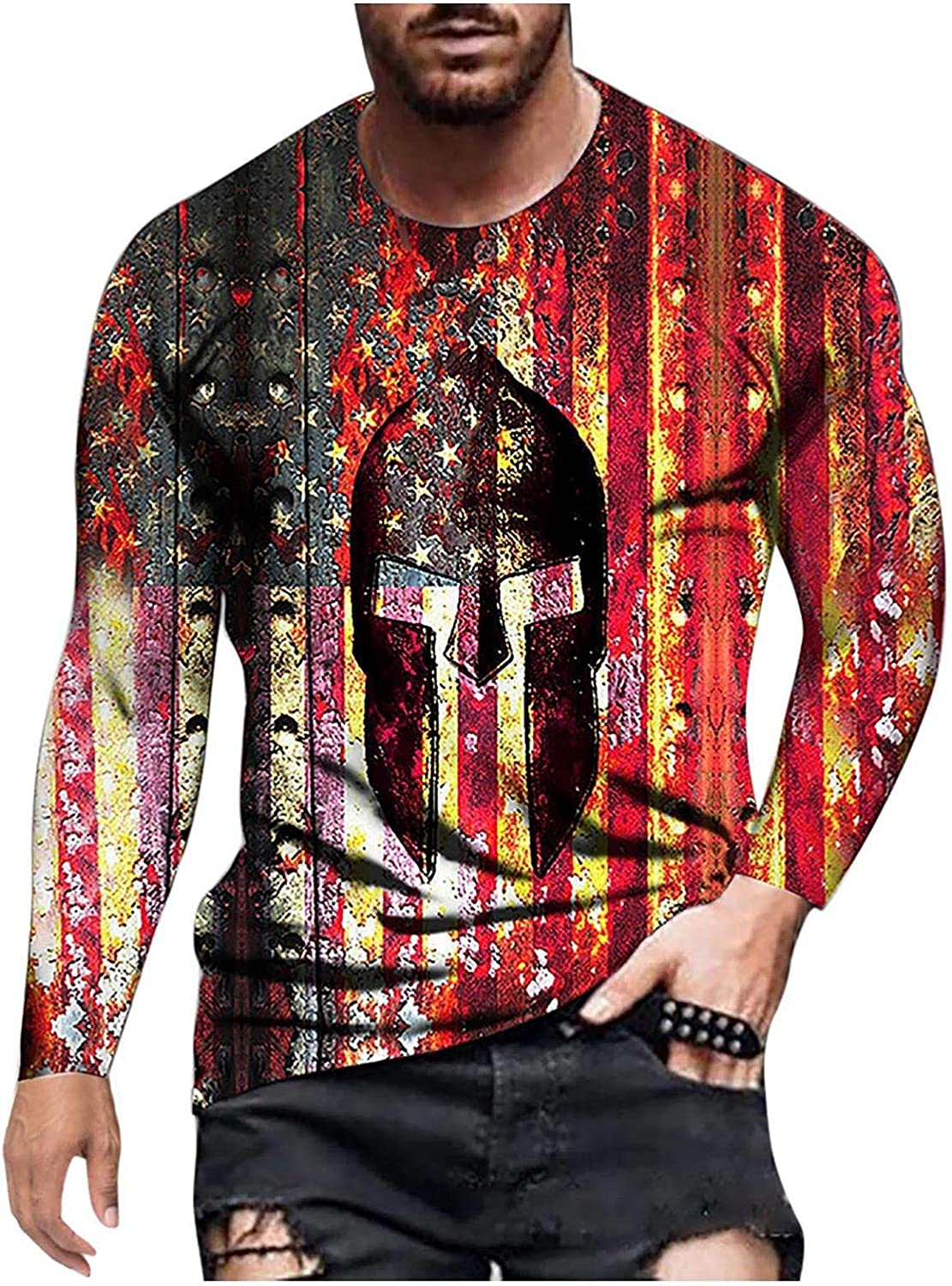 Aayomet Long Sleeve Tee Shirts for Men Pattern Print Cozy Streetwear Hip Hop Fashion Casual Pullover Tops