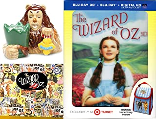 3D Musical The Wizard of Oz Movie Exclusive Blu Ray Lunchbag & Cowardly Lion Salt & Pepper Shakers Figurine Collectible Pack Wonderful Courage set Oh my!