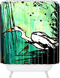 "Deny Designs Sophia Buddenhagen Green And White Bird Shower Curtain, 69"" x 72"""