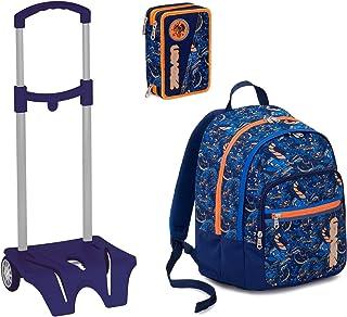 580839fc07 Seven Kit Scuola Zaino + Astuccio + Easy Trolley - Fit - Blu Arancione - 28