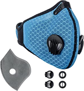Krisvie Dustproof Face Mask Activated Carbon Dust Mask with Filter Filtration Cotton Sheet and Valves for Exhaust Gas, Pollen Allergy, PM2.5 Running Cycling Outdoor