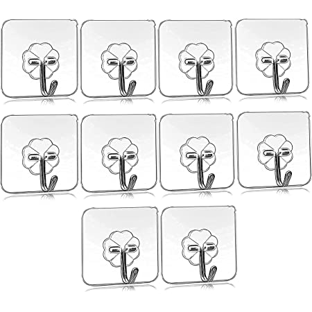 Droposale Waterproof Stick on Adhesive Plastic Wall Hooks for Hanging Robe, Coat, Towel, Keys, Bags, Lights, Calendars. (Pack of 5) , Transparent
