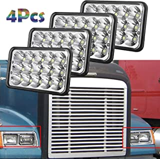 For FREIGHTLINER FLD 120 112 70 Classic 4x6 Inch Sealed Beam LED Headlights 6000K Cool White Rectangular Headlamp Waterproof Pack of 4-2 Year Warranty Replace H4651 H4652 H4656 H4666 H6545