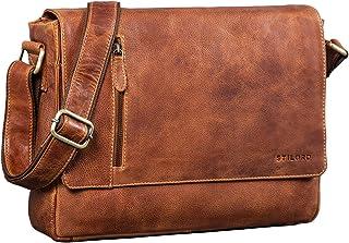 STILORD 'Davis' Messenger Bag Leder 13 Zoll Laptop Tasche Vintage Umhängetasche Schultertasche für Uni Büro Büchertasche M...
