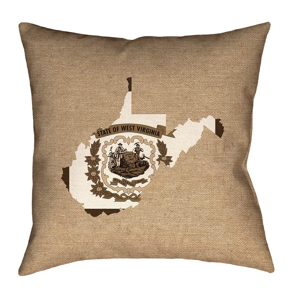 ArtVerse Katelyn Smith 18 x 18 Spun Polyester West Virginia Love Pillow