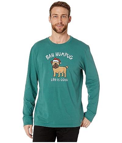 Life is Good Bah Humpug Long Sleeve Crusher T-Shirt (Spruce Green) Men