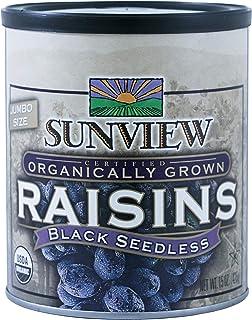 Sunview Organic raisins black can, 15oz