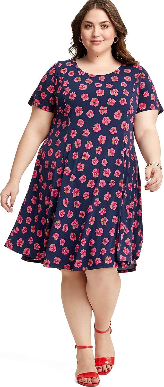 MERI SKYE Plus Size Short Sleeve ALine Dress