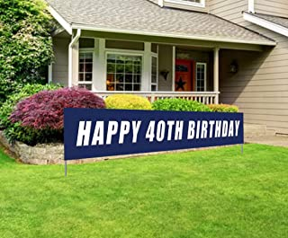 Blue Happy 40th Birthday Banner, Large 40th Birthday Party Sign, 40 Bday Party Supplies Decorations