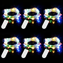 Engilen Fairy Lights 7.2 Feet 20 LED Copper Wire String Lights with Button Battery Operated, Multicolor (6 Pack)