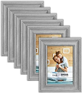 Icona Bay 4x6 Picture Frames (6 Pack, Farmhouse Gray) Picture Frame Set, Wall Mount or Table Top, Omaha Collection
