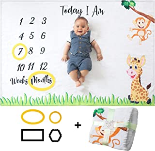 Odoxia Baby Monthly Milestone Blanket | for Boy or Girl, Unisex | Month Blanket Baby for Pictures | Personalized Shower Gifts New Moms | Track Age & Growth | Soft, Thick and Large
