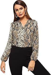 Women's Elegant Long Sleeve V Neck Zebra Print Blouse Shirt top