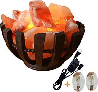 Basket Himalayan Salt Lamp with Salt Chips Rock Rosewood 6
