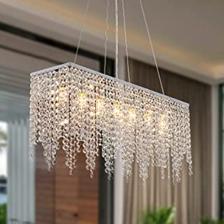 Sponsored Ad – SILJOY Crystal Rectangle Chandeliers Ceiling Light for Dining Room, Pendant Lights Fixtures for Living Room...