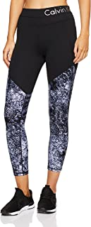 Calvin Klein Women's Printed Fitness Compression Pant with Logo Waistband