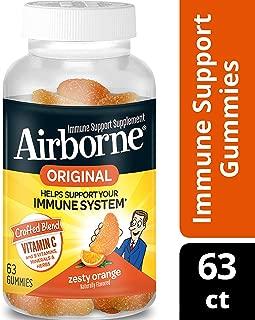 Airborne Immune Support Blast of Vitamin C Orange Gummies- 1000 mg of Vitamin C, Immune Support From Echinacea & Ginger With Zinc, Selenium, Manganese, and Magnesium, 63 Count