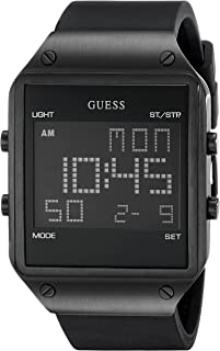 GUESS  Comfortable Black Stain Resistant Silicone Digital Watch with Day, Date, 24 Hour Military/Int'l Time, Dual Time Zone + Alarm. Color: Black (Model: U0595G1)