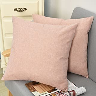 NATUS WEAVER Decorative Lined Linen Square Euro Throw Pillow Case Sham Cushion Cover for Doze, 18 x 18 inch(2 Pieces, Baby Pink)