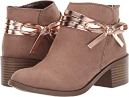 Taupe Microfiber/Rose Gold PU Bow