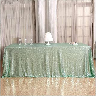 Poise3EHome 60×102'' Rectangle Sequin Tablecloth for Party Cake Dessert Table Exhibition Events, Mint Green