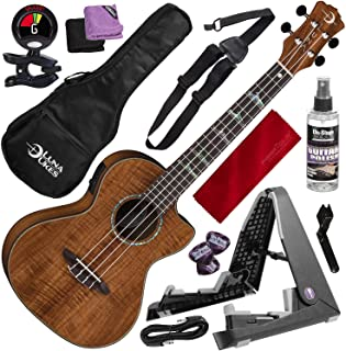 Luna Ukulele Concert Koa High Tide with Preamp and Guitar Stand Deluxe Bundle