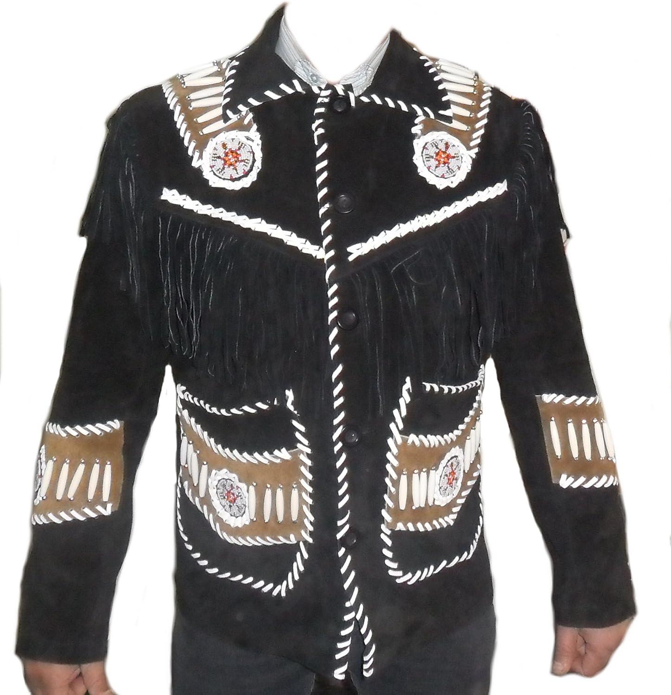 Classyak Western Leather Jacket, Fringed, Beads and Bones, Xs-5xl